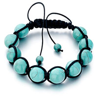  - genuine turquoise gemstone beads on cotton rope adjustable shamballa bracelets Image.