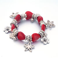  - silver plated red trendy turquoise gemstone beads mixed dangle flower bracelets Image.