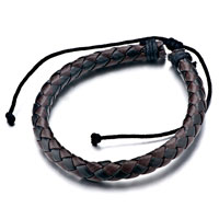 Bracelets - black braided leather charm bracelets Image.