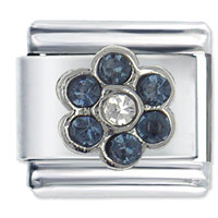 Italian Charms - september sapphire color birthstone flower italian charm Image.