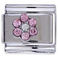 Italian Charms - october light rose color birthstone flower italian charm bracelets Image.