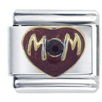 Italian Charms - mom heart red italian charm Image.