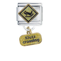 Italian Charms - klutz crossing dangle italian charm Image.