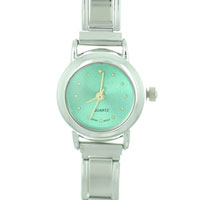 Italian Charms - round green christmas watch Image.