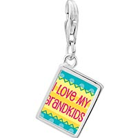 Link Charm Bracelet - 925 sterling silver i love my grandkids photo rectangle frame link charm Image.