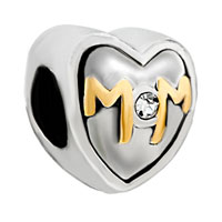 DPC0030: mother jewelry mom rhinestone two tone plated beads charms bracelets Image.