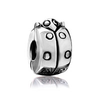  - silver tone ladybug clip lock stopper bead charm bracelet Image.
