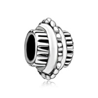 European Beads - cylindrical shaped bike wheel silver plated beads charms bracelets Image.