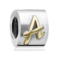European Beads - letter a alphabet fit all brands two tone plated beads charms bracelets Image.