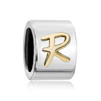 European Beads - round letter r two tone plated beads charms bracelets Image.
