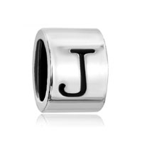 European Beads - cylindrical shaped letter j silver plated beads charms bracelets Image.