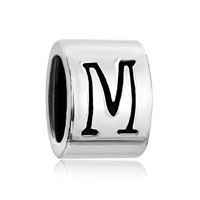 European Beads - cylindrical shaped letter m silver plated beads charms bracelets Image.