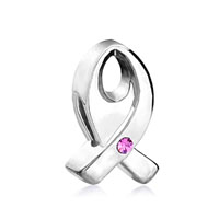 DPC0475: pink crystal ribbon breast cancer awareness silver plated beads charms bracelets Image.