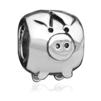  - silver tone cute pig Image.