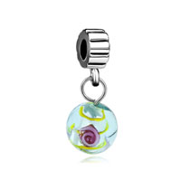 - green murano glass flower dangle Image.