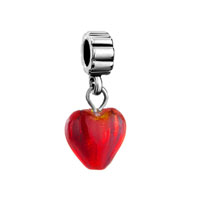 European Beads - murano glass red heart fit all brands dangle european beads charms bracelets Image.