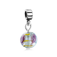 European Beads - foil pink rose dangle european beads all brands charms bracelets Image.