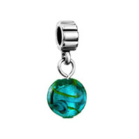 European Beads - murano glass turquoise round dangle european beads all brands charms bracelets Image.