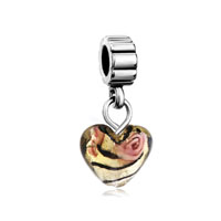 Murano Glass Jewelry - topaz murano glass love heart dangle european beads all brands charms bracelets Image.