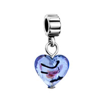 European Beads - murano glass turquoise heart fit dangle european beads all brands charms bracelets Image.
