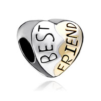 European Beads - heart shape love silver plated beads charms bracelets Image.