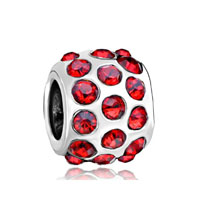 European Beads - garnet red crystal diamond accent all brand silver plated beads charms bracelets Image.
