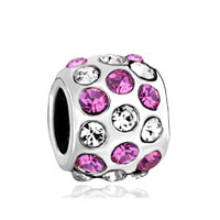 European Beads - pink rhinestone &  fit all brands silver plated beads charms bracelets Image.