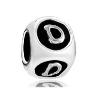 European Beads - dice shaped letter d silver plated beads charms bracelets Image.