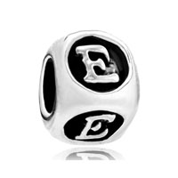 European Beads - dice shaped letter e silver plated beads charms bracelets Image.