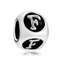 European Beads - dice shaped letter f silver plated beads charms bracelets Image.
