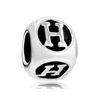 European Beads - dice shaped letter h silver plated beads charms bracelets Image.