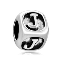 European Beads - dice shaped letter j silver plated beads charms bracelets Image.