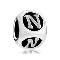 European Beads - dice shaped letter n alphabet fit all brands silver plated beads charms bracelets Image.