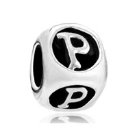 European Beads - dice shaped letter p silver plated beads charms bracelets Image.
