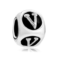 European Beads - dice shaped letter v silver plated beads charms bracelets Image.
