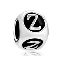 European Beads - dice shaped letter z alphabet fit all brands silver plated beads charms bracelets Image.