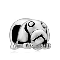 European Beads - cute puppy tummy silver plated beads charms bracelets Image.