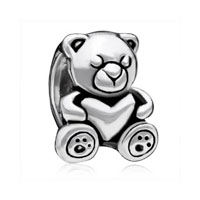 European Beads - sleeping little bear silver plated beads charms bracelets Image.