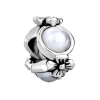 European Beads - flower pearl silver plated beads charms bracelets Image.