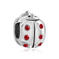 European Beads - january garnet color birthstone ladybug silver plated beads charms bracelets Image.