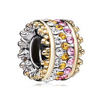 European Beads - multi color crystal spacer wheel all brand two tone plated beads charms bracelets Image.