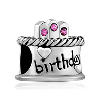 European Beads - happy birthday cake hot pink fit all brands silver plated beads charms bracelets Image.