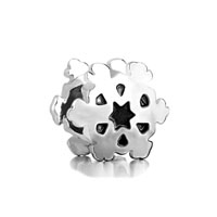 European Beads - sectored snowflake silver plated beads charms bracelets Image.