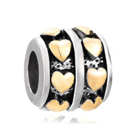 European Beads - 22k row heart love wheel spacer two tone plated beads charms bracelets Image.