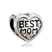 DPC1619: 22k mother jewelry heart best mom love brand two tone plated beads charms bracelets Image.