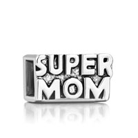 European Beads - mother jewelry cube super mom silver plated beads charms bracelets Image.