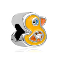 European Beads - funny duck silver plated beads charms bracelets Image.