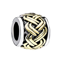 European Beads - golden celtic weave two tone plated beads charms bracelets Image.
