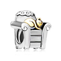 DPC1825: 22k cat sleeping in sofa all brand two tone plated beads charms bracelets Image.