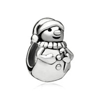 European Beads - happy snowman christmas gift brand silver plated beads charms bracelets Image.